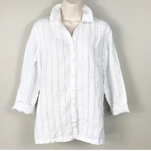 Eileen Fisher Petite 100% linen button down shirt
